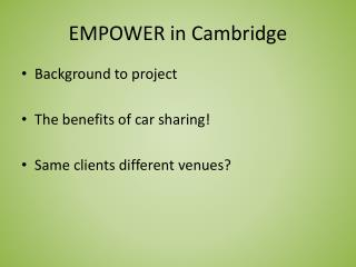EMPOWER in Cambridge