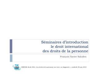 Séminaires d'introduction l e droit international des droits de la personne
