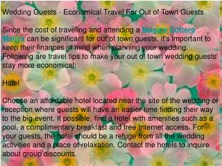 Wedding Guests - Economical Travel For Out of Town Guests