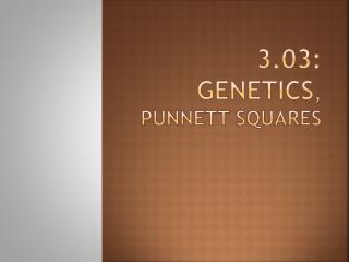 3.03: Genetics ,   Punnett  squares