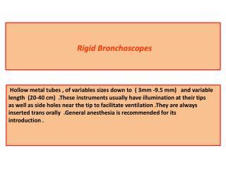 Rigid Bronchoscopes