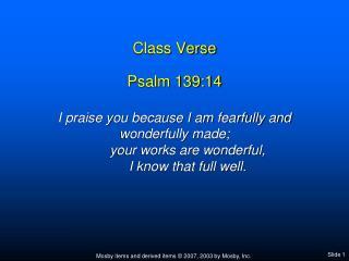 Class Verse Psalm 139:14