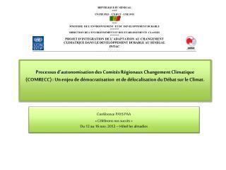 Conférence PAYS PAA «Célébrons nos succès» Du 12 au 16 nov. 2012 – Hôtel les  almadies
