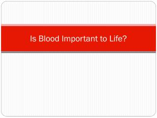 Is Blood Important to Life?
