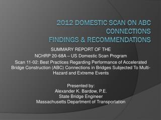 2012 Domestic Scan on ABC Connections Findings & Recommendations
