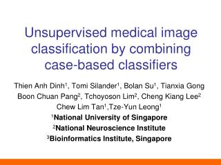 Unsupervised medical image classification by combining  case -based classifiers