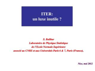 ITER: un luxe inutile ?