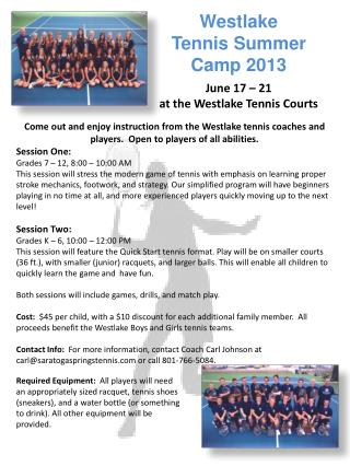 Westlake   Tennis Summer  Camp 2013