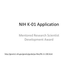 NIH K-01 Application