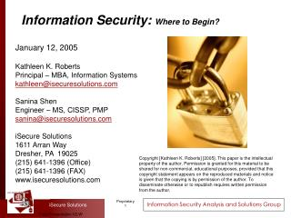 Information Security: Where to Begin