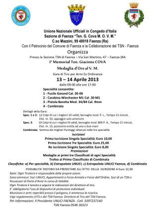 """Unione Nazionale Ufficiali in Congedo d'Italia Sezione di Faenza """"Ten. G. Cova M. O. V. M."""""""