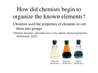 How did chemists begin to organize the known elements