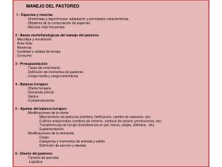 MANEJO DEL PASTOREO  1 - Especies y mezclas