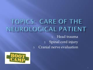 Topics:  care of the neurological patient