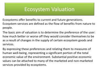 Ecosystem Valuation
