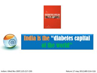 "India is the  ""diabetes capital  of the world"""