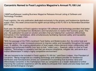 Corcentric Named to Food Logistics Magazine's Annual FL100 L