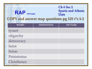 Ch  4 Sec 2 Sparta and Athens Date