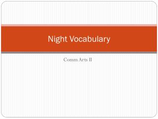 Night Vocabulary