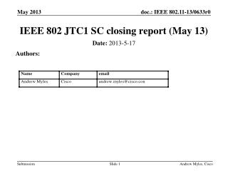 IEEE 802 JTC1 SC closing report  (May 13)