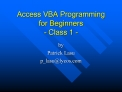 Access VBA Programming for Beginners  - Class 1 -