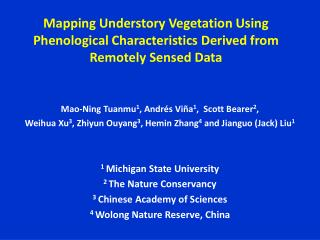 Mapping Understory Vegetation Using Phenological Characteristics Derived from Remotely Sensed Data