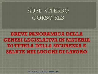 AUSL  VITERBO CORSO RLS