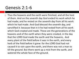 Genesis 2:1-6