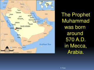 The Prophet Muhammad was born  around  570 A.D. in Mecca, Arabia.