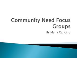 Community Need Focus Groups