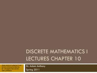 Discrete Mathematics I Lectures Chapter 10