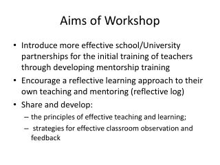 Aims of Workshop