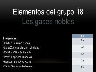 Elementos del grupo 18 Los gases nobles