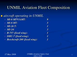 UNMIL Aviation Fleet Composition