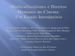 Multiculturalismo  e  Direitos Humanos  no Cinema: Um  Estudo Introdutório