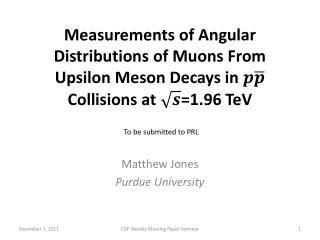 Matthew Jones Purdue  University