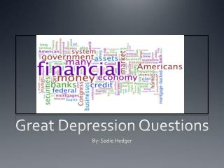 Great Depression Questions