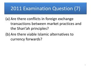 2011 Examination Question (7)