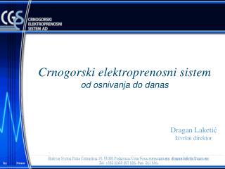 Crnogorski elektroprenosni sistem od osnivanja do danas
