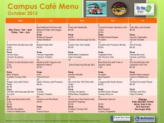 Campus Café Menu  October 2013