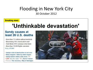 Flooding in New York City 30 October 2012
