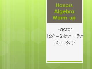 Honors Algebra Warm-up