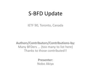 S-BFD Update