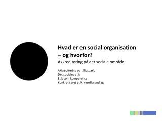 Hvad er  en social organisation  –  og hvorfor?  Akkreditering på det sociale område