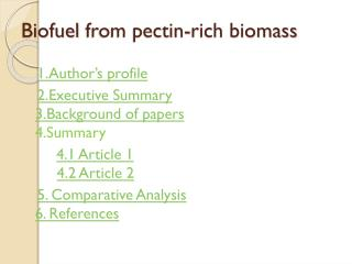 Biofuel  from pectin-rich biomass