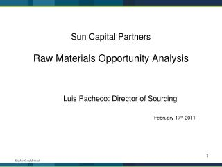 Sun Capital Partners Raw Materials Opportunity Analysis
