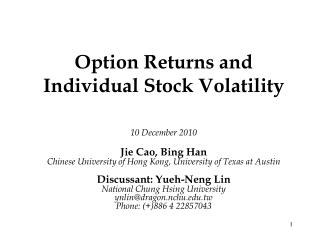 Option Returns and Individual Stock Volatility
