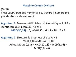 Massimo Comun Divisore  (MCD)