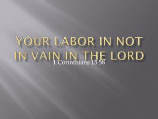 Your labor in not in vain in the Lord
