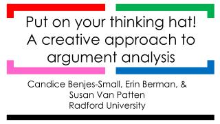 Candice  Benjes -Small, Erin Berman, & Susan Van Patten Radford University